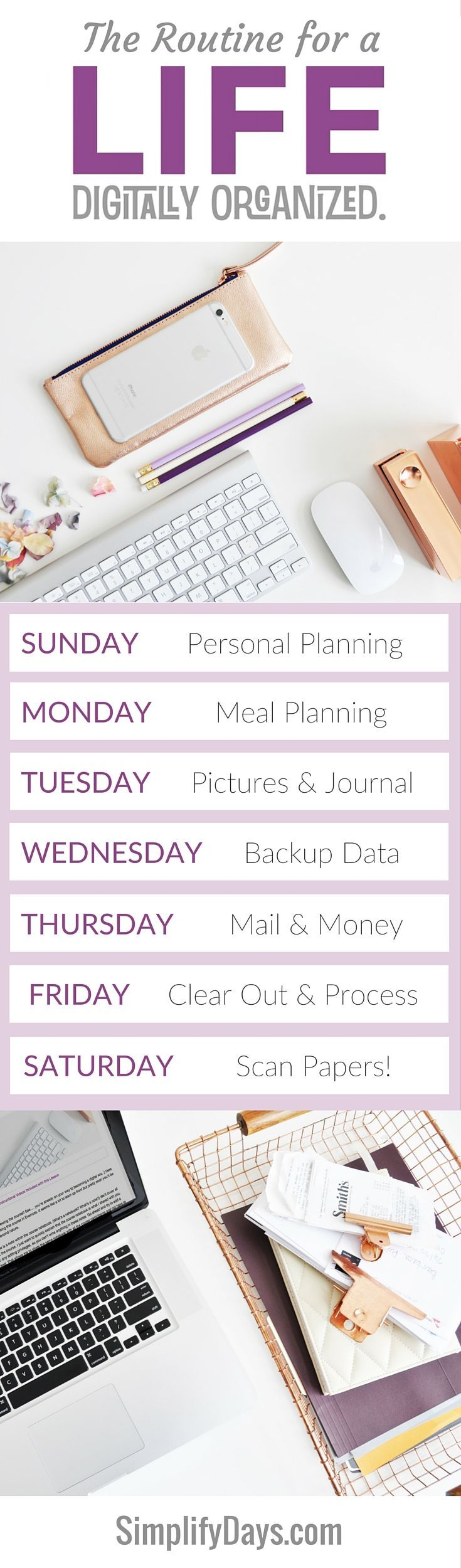 How to maintain a life digitally organized in just minutes a day. Get the details, tips & tutorials. // SimplifyDays.com
