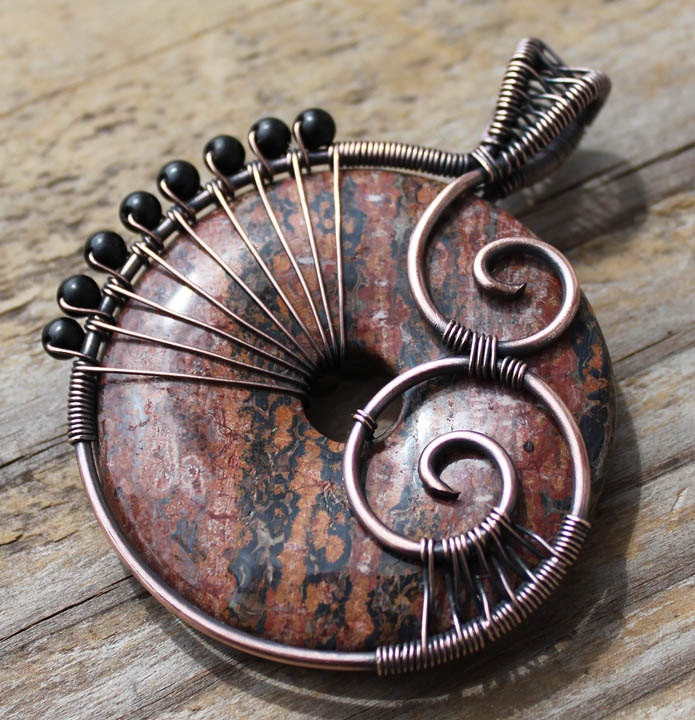 New Roots - Copper and Leopardskin Jasper Pendant
