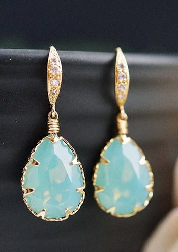 Mint + Gold Pacific Opal Swarovski Crystal Earrings from EarringsNation Mint and gold wedding Bridesmaid gifts Bridesmaid Earrings