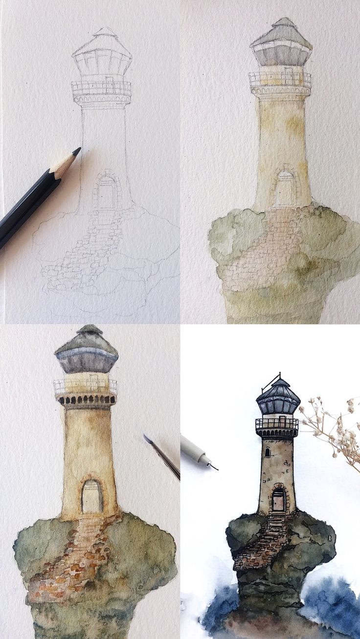 (@rosies.sketchbook) mini Watercolor lighthouse tutorial  #watercolor #watercolour #painting #sketch #art #artist #artwork #draw #drawing #doodle #watercolorist #illustration #illustrate #tutorial #artwork