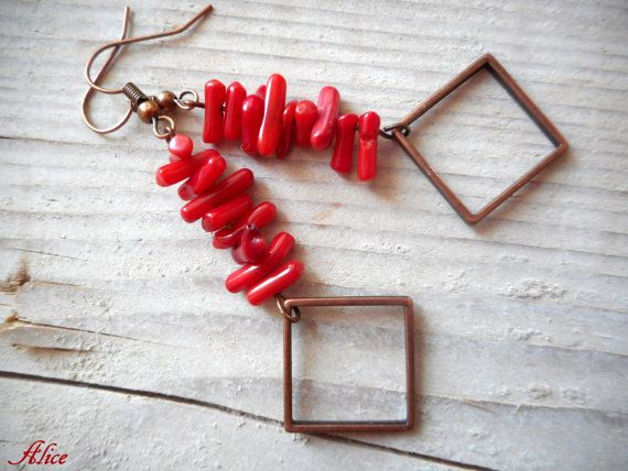Bamboo coral dangle earrings  red coral and di TriskellDesign