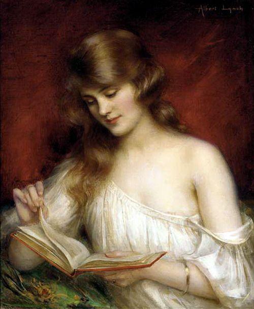 A Quiet Read. Albert Lynch (Peruvian,Belle Époque,1851-1912). Oil on canvas.