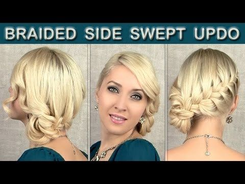 Curly braided updo Prom party hairstyle for medium long and short hair tutorial with side swept bun