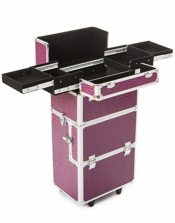 Urbanity Elite Makeup Trolley in Purple Croc, showing the sliding out trays at the top for all makeup and accessories.