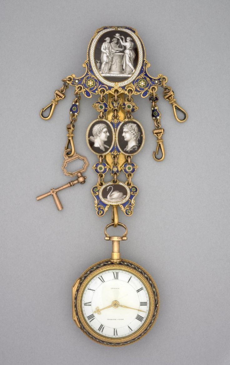 GOLD AND ENAMEL CASED CYLINDER WATCH WITH DUMB QUARTER-REPEAT AND EN-SUITE CHATELAINE. London 1777-1778.