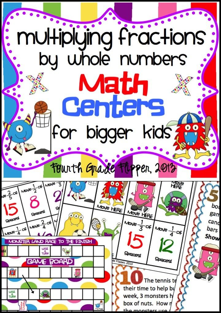Five For Friday: Productivity and Pin It to Win It! Multiplying Fractions by Whole Numbers: Math Centers for Bigger Kids by Ideas by Jivey