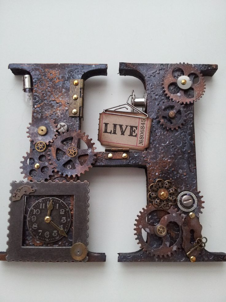 Steam punk style freestanding letters