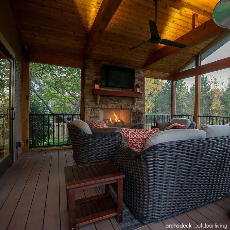 23 best Screen Porch Fireplaces images on Pinterest | Screened ...