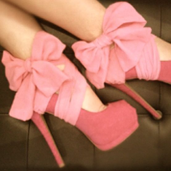 Bows: Fashion, Style, Clothing, Pink Heels, Pink Bows, Pump, Pink Shoes, High Heels, Pretty