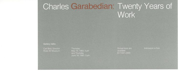 Charles Garabedian: Twenty Years of Work  exhibition invitation, 1982
