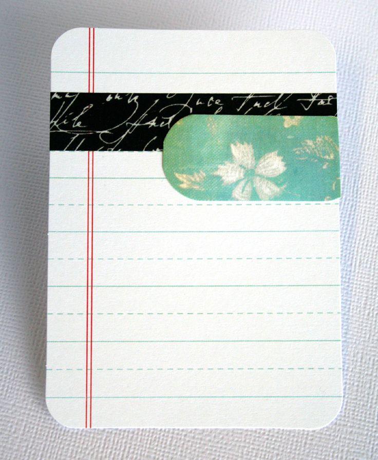 Journal card with Washi tape. Black Script Washi Tape: http://www.washitapes.nl/washi-tape/006--black-script-washi-tape.html