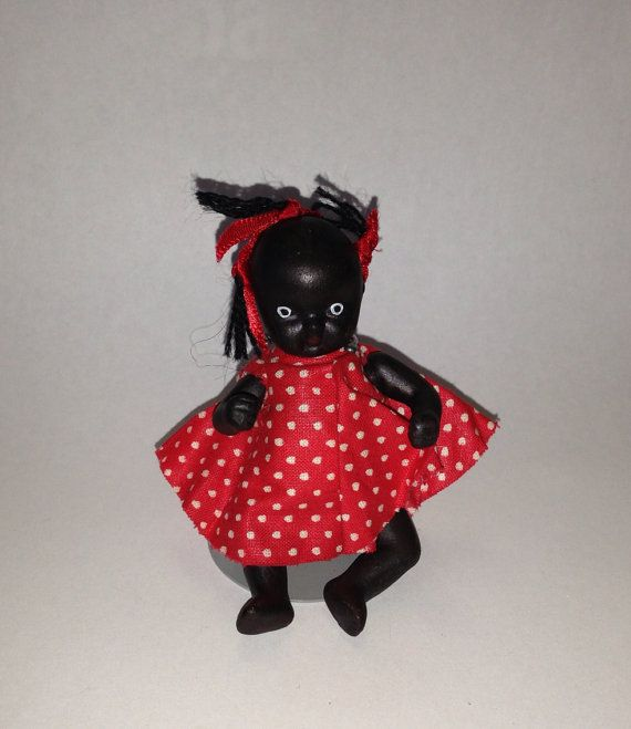 Vintage BLACK Americana Bisque Baby DOLL Jointed Diaper ...
