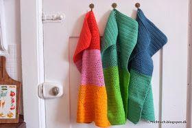 tichtach - en kreativ logbog: Hækleopskrift: #harlekinshåndklæder