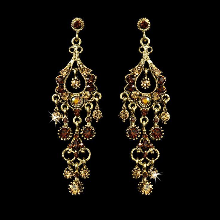 Gold Chandelier Earrings with Topaz Rhinestones