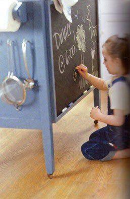 back of dresser turned kitchen island: Old Furniture, For Kids, Chalkboards Painting, Chalkboard Paint, Chalk Boards, Kitchens Islands, Dressers Islands, Storage Ideas, Kitchen Islands