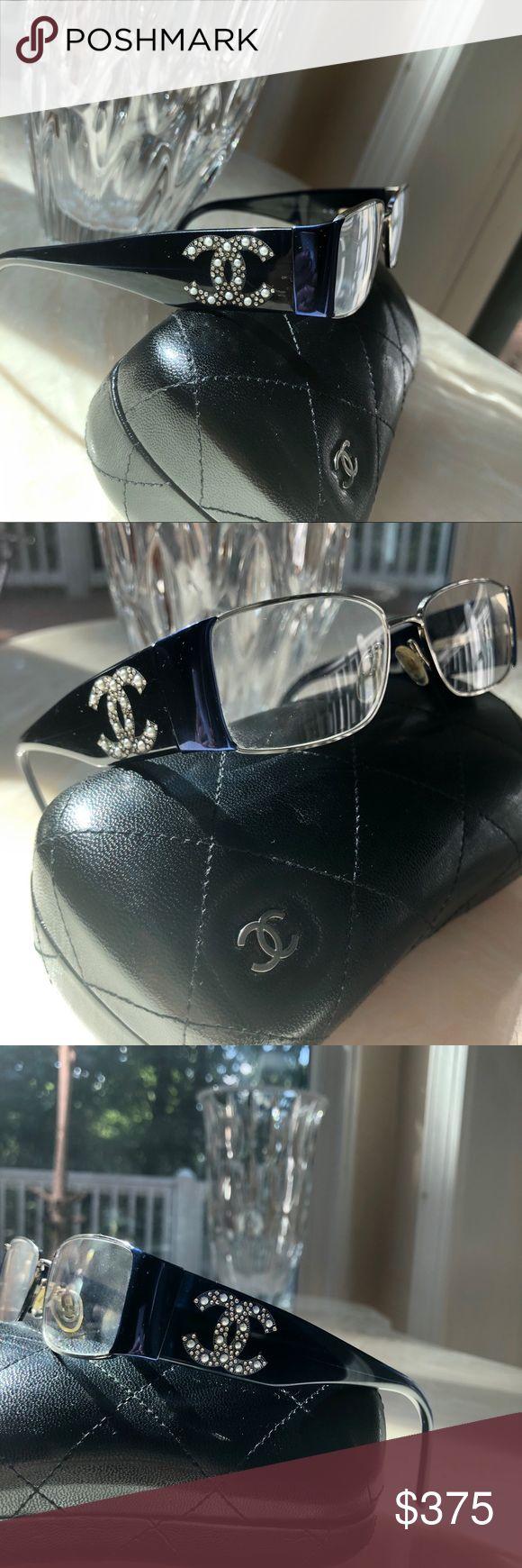 Navy CHANEL Glasses w/ Pearls & Swarovski Crystals Navy Blue Chanel Eyeglasses w… – My Posh Closet