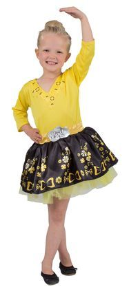 It's fun time with The Wiggles! Dress up in this Wiggles Emma Ballerina costume dress featuring a black and yellow tulle skirt.