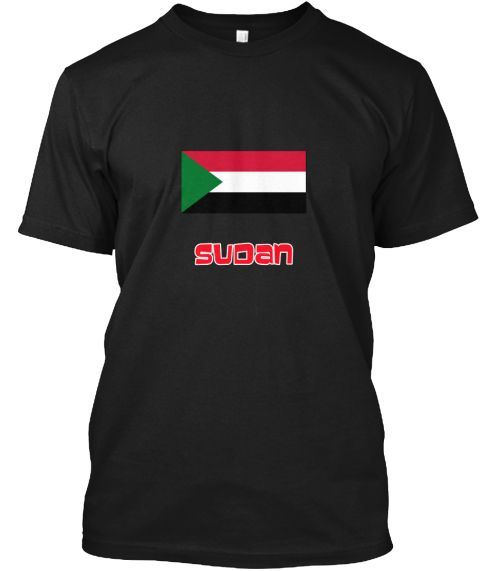 Sudan Flag Retro Red Design Black T-Shirt Front