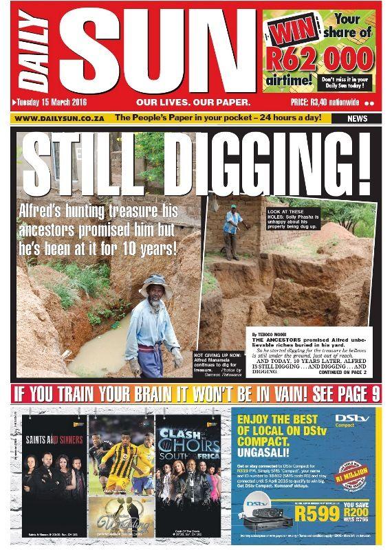 """""""Still digging!"""" - Daily Sun - iSERVICE   Politicsweb"""