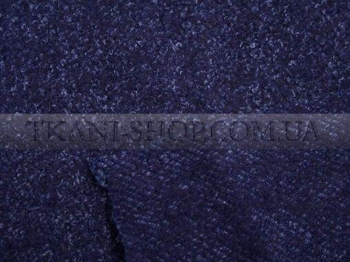 трикотаж меланж шерсть темно-синяя с синей нитью пальтовые ткани