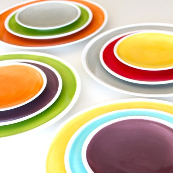 like the idea to do myself: Dinner Plates, Design Ideas, Colors, Dinners, Colorful Plates, Colorful Ideas, Ceramic, Colorfull Plates