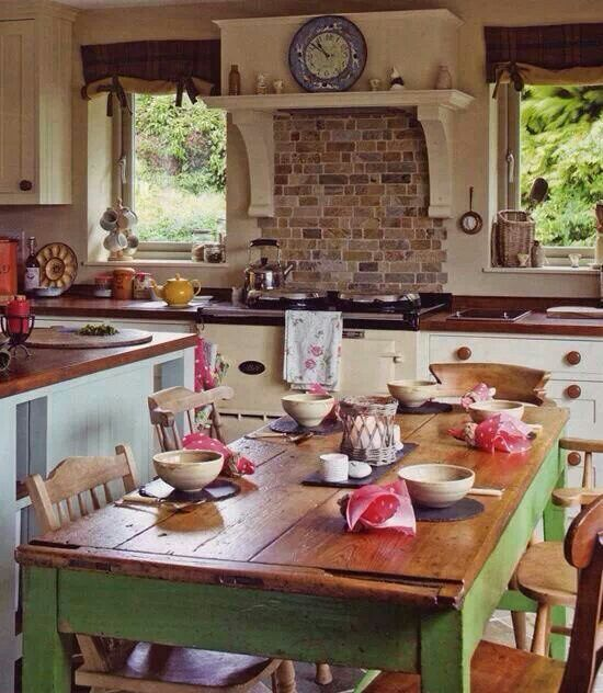 Country kitchen. Brick behind stove.