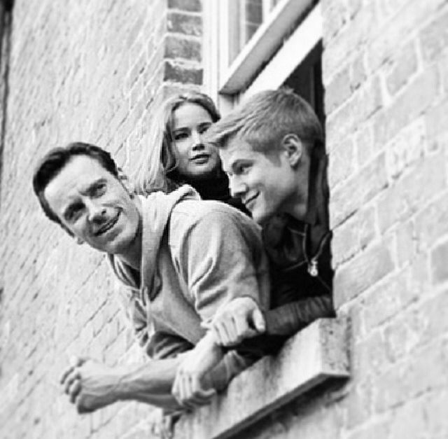 Michael Fassbender with Jennifer Lawrence and Lucas Till in X-Men: First Class.