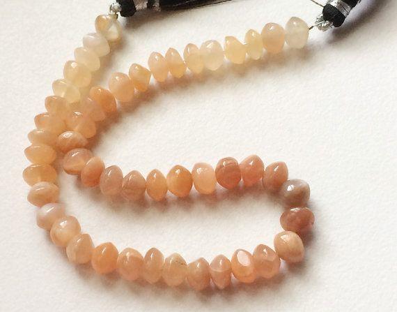 Peach Moonstone Fancy Rondelle Moonstone Beads by gemsforjewels