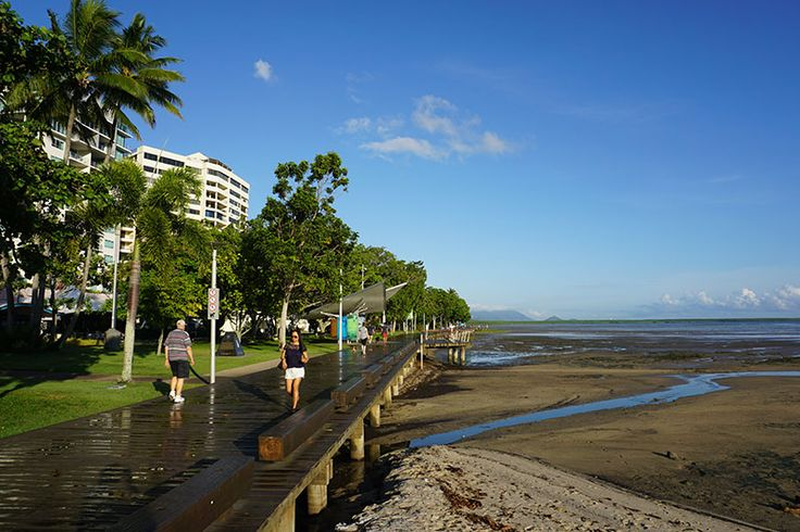 A beautiful sunny day on the Cairns waterfront board walk.