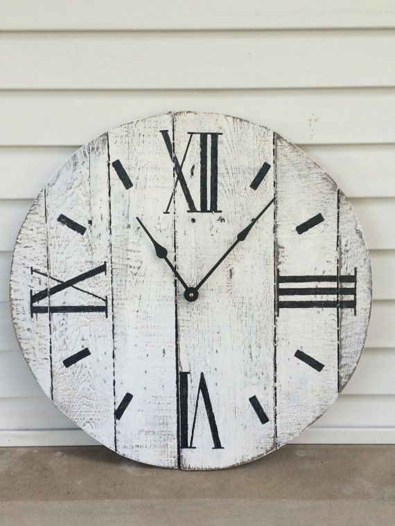 Looking for just the right rustic touch to add to your living room? This handcrafted farmhouse style clock will add a country feel to whatever room you hang it in. Its made of re-purposed pallet wood with hand painted numbers. However, many other color options are available. Get creative, and we will custom design for you! Clock comes with hardware attached to the back ready to hang on your wall! Clock motor takes one AA battery which is not included.  All clocks can be customized according…