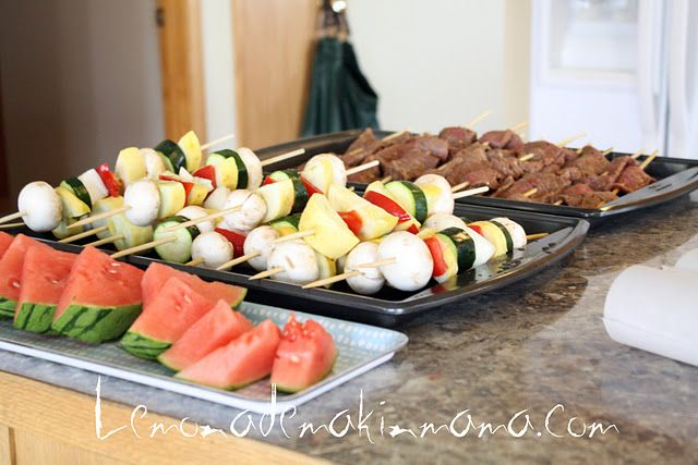 Barbeque party with skewers!