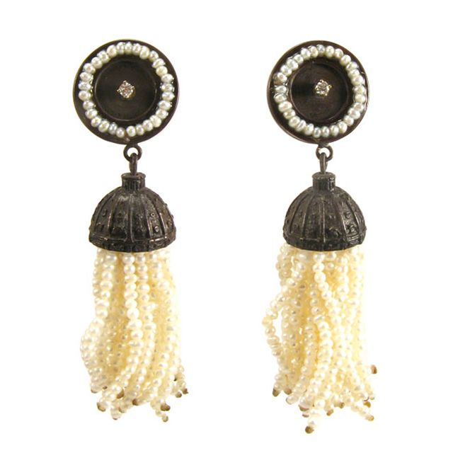 Pearl Fringe Earrings    Pearl fringe earrings in sterling silver and 14k yellow gold with diamonds       $640