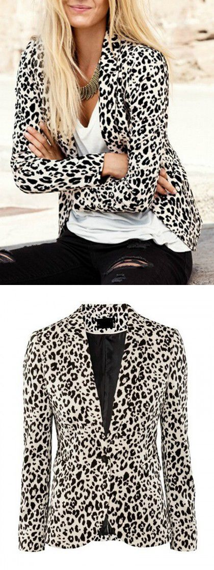 Leopard Print Collarless Long Sleeve Blazer