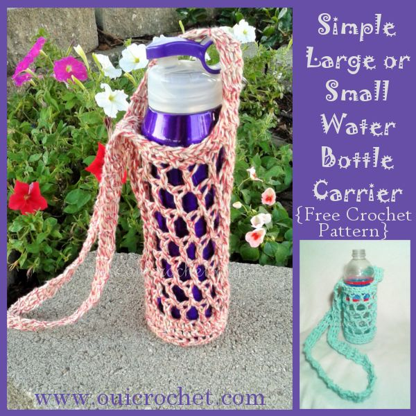 Simple Large or Small Water Bottle Carrier {Free Crochet Pattern}