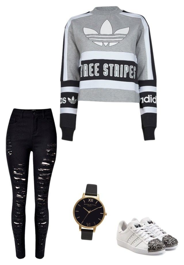"""Untitled #195"" by rekac on Polyvore featuring adidas, WithChic, Olivia Burton and adidas Originals"