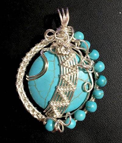 V Wire Weave Turquoise Pendant
