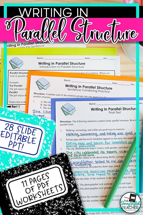 Parallel Structure: PowerPoint, Worksheets, Tests   Teaching Teens