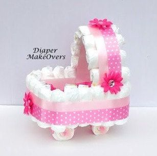 Pink  Sunflower Gift Basket - Carriage Diaper Cake - Unique Baby Shower Centerpiece - Baby Boy Baby Girl & Gender Neutral Available