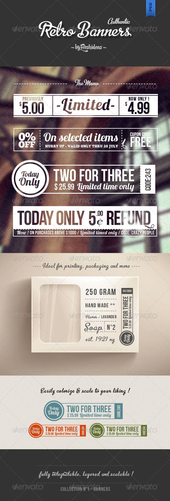 Set of 4 Retro Banners - GraphicRiver Item for Sale
