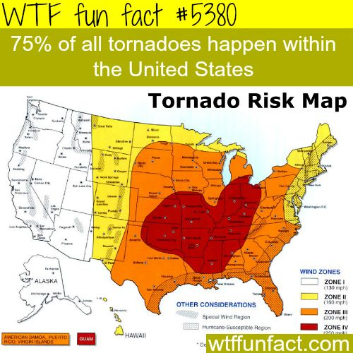 Tornadoes map - WTF fun facts