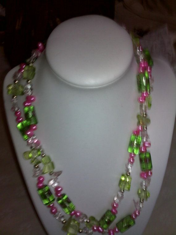 Double strand, glass and pearl necklace