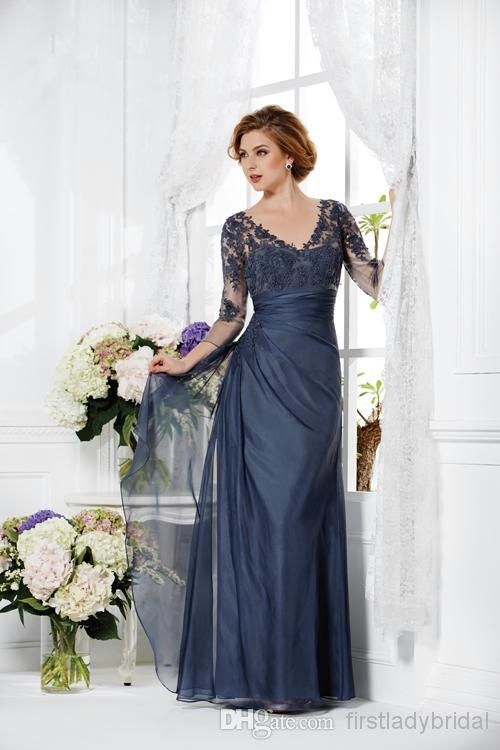 2015 Vintage Navy Blue Mother Of The Bride Groom Dresses 3/4 Sleeves Appliques Lace A-line V-neck Long Custom Made Winter Evening Party Gowns