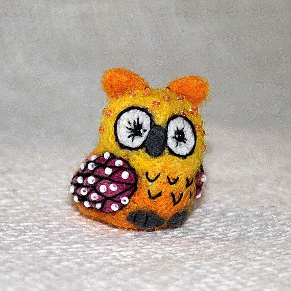 Miniature needle felted owl embroidered small by SecretFriends