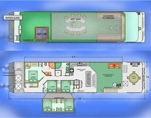 Diy houseboat plans building your own houseboat boats for Build your own floor plan
