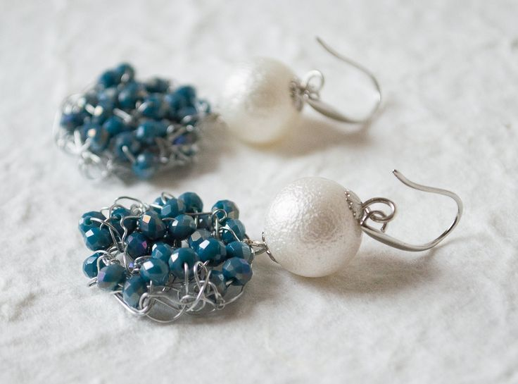 Handmade  Dangle & Drop Earrings  Wire Crochet earrings  featured with White Beads Blue Crystals by UnikacreazioniShop on Etsy