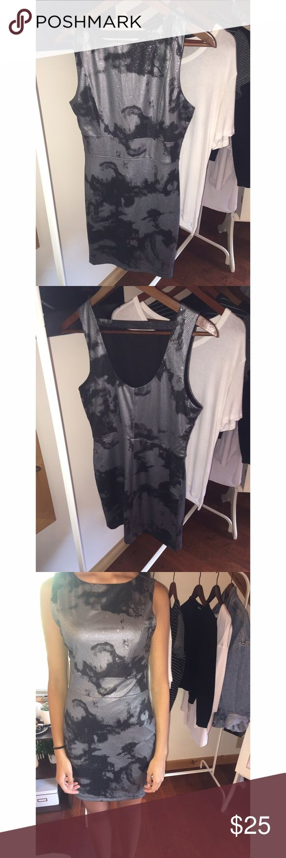 Marble smoky silver and black dress Cute going out dress. Sparkly silver and black pattern. Scoop back. Forever 21 Dresses Mini