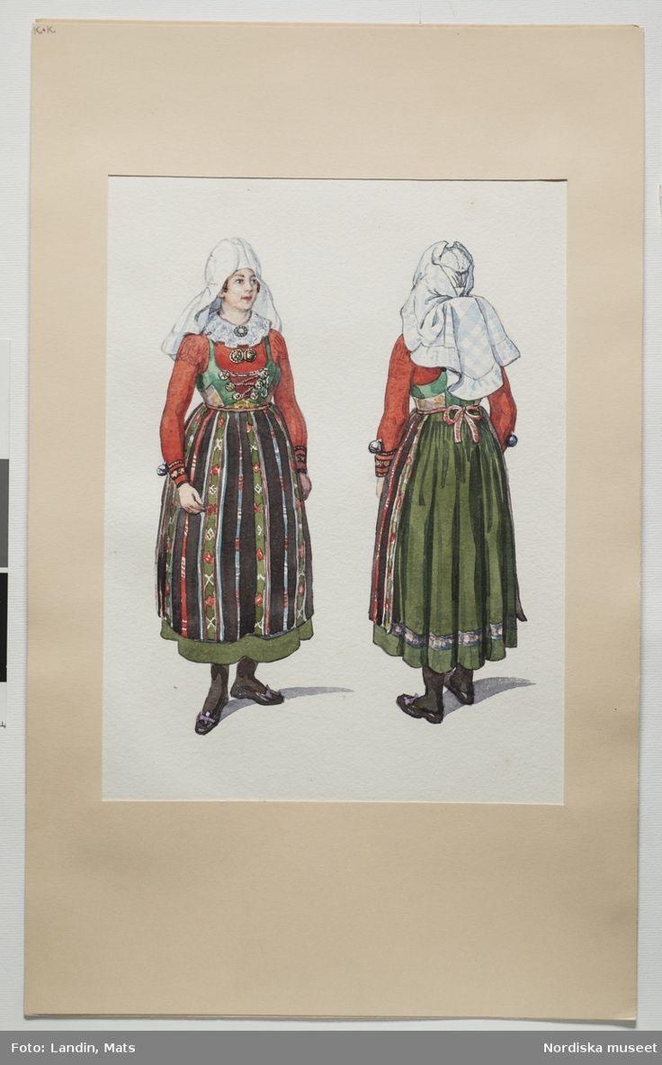 Festdräkt för gift kvinna Vemmenhög härad, Skåne. Akvarell av Emelie von Walterstorff. (E.v.Walterstorff).