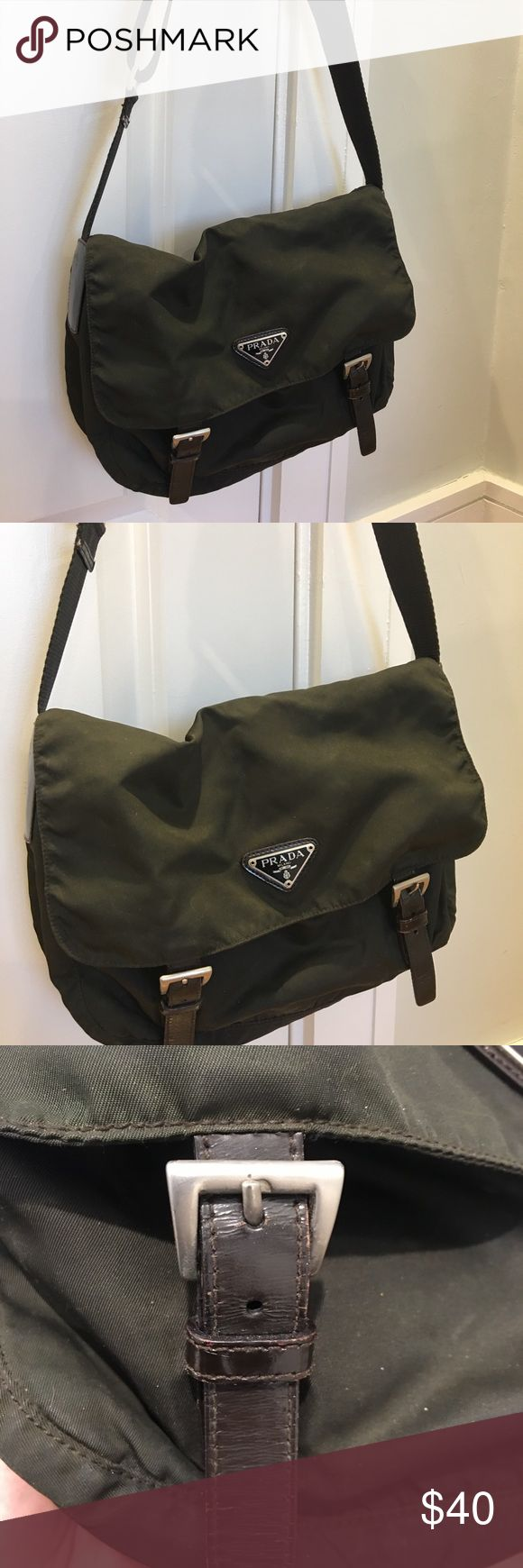 Prada Messenger Brown Prada messenger bag w/ adjustable strap. In used condition (see photos). Biggest sign of wear is the tear along interior seam, could be easily repaired! 100% authentic Prada Bags Crossbody Bags