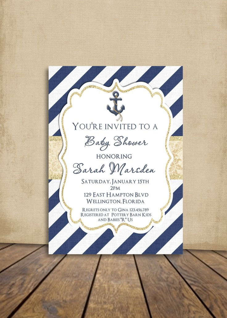 free online christening invitation making%0A Nautical Anchor Baby or Bridal Shower Invitation by  PeasPrints