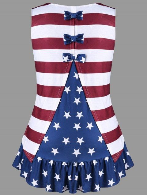 ac92c0afc09 Plus Size Flounced Bowknot Embellished Patriotic Tank Top - COLORMIX ...